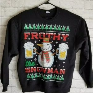 Frothy the Snowman Jerzees Sweatshirt Blk SZ L